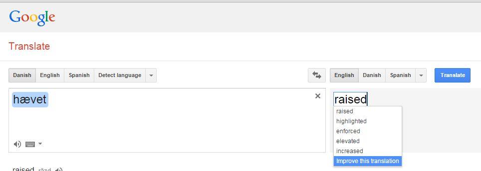 hævet på Google Transalte